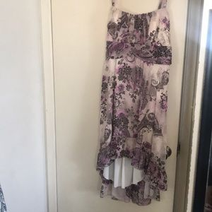 Dressbarn high low floral strapless dress